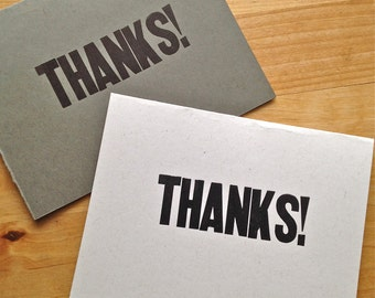 Letterpress thank you card – Thanks!