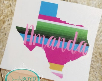 Monogrammed Serape State Decal - Choose Your State - Yeti, Laptop, Cooler, or Car Decal - Ships free with another item