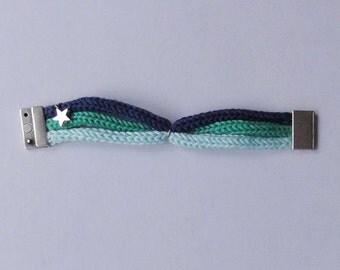 Leia: marine, mint, celadon tricolor cotton bracelet with magnetic clip