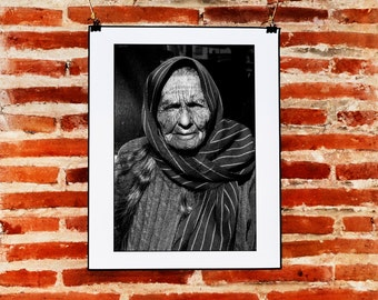 Black and White Mexican Portrait Photography, Old Woman Portrait Wall Art, Print, Black and White Woman Portrait, Mexico Photography Print