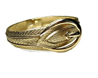 Belt Buckle Cuff Bracelet Chunky Textured Gold Tone Clamper Bracelet