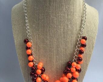 VA Tech Game Day Necklace Tech necklace Hokie Necklace VA Tech Necklace Orange Maroon necklace VA Tech Maroon Orange cluster necklace