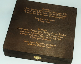 Custom Engraved Wooden Box, mothers day, childs handwriting engraved on box,