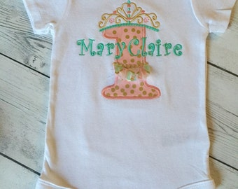Birhrday Onesie With Number, Crown, and Tutu, Personalized with name