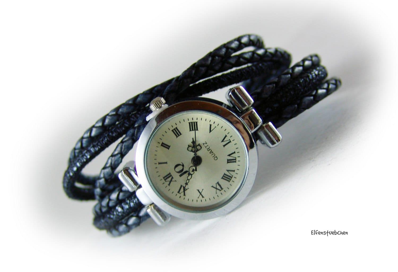 womens wrap wrist braided leather blue silver