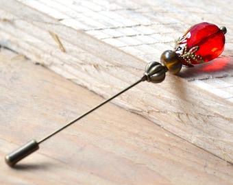 Red drop crystal pin brooch