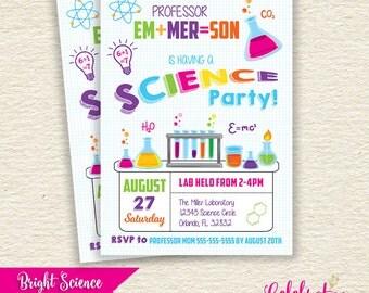 Bright & Girly Science Invitation | Emailed Printable JPG Invite | by Celebration Lane