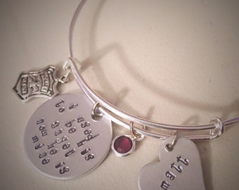 Police Officer Memorial Hand-stamped Charm Bangle