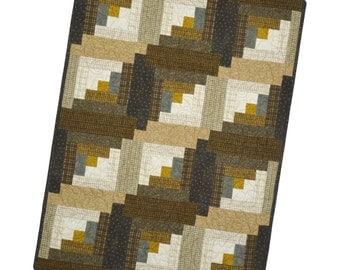 Maywood Woolies Colors Hazelnut PRECUT Flannel Fabric Quilt Kit Log Cabin 29 x 39