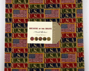 Moda Because of the Brave Patriotic American Layer Cake 42 Fabric 10 inch Squares