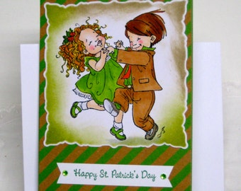 Happy St. Patrick's Day Card  Kicking Up ! Dancing Couple  Handmade