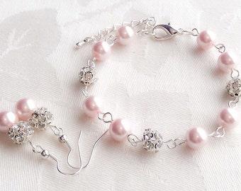 Blush Pearl Bracelet & Earrings Set Pearl Jewelry Pink Pearl Bracelet Bridesmaid Gift Wedding