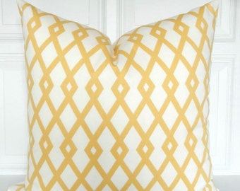Yellow Pillow Cover - Decorative Pillow - Lattice - Trellis - Geometric -  18x18 - Throw Pillow - Toss Pillow