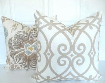 Neutral Pillow Cover - Trellis - Decorative Pillow Cover - Tan and Off White -  Throw Pillow - Accent Pillow - Toss Pillow - 18x18, 20x20