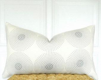 Jonathan Adler Super Nova - Lumbar Pillow - Gray and Ivory Pillow Cover - Linen Pillow - Designer Pillow - Grey Linen Pillow - Ivory Pillow