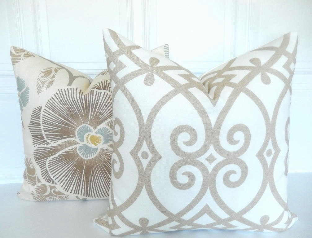 Decorative Pillows Neutral : Neutral Pillow Cover Trellis Decorative Pillow Cover Tan