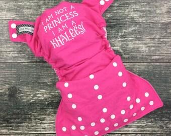 Embroidered cloth diaper / Little Beasties / one size pocket / adjustable elastic & leg gussets / GOT / Khaleesi embroidery