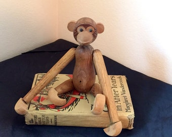 Kay Bojesen Teak Wood Monkey Toy Mid Century Monkey