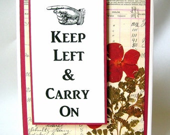 Lefty birthday card, Left-handed card, Keep left & carry on, Leftie greeting card, Opens on the left, Lefty humor, Red floral, Direction