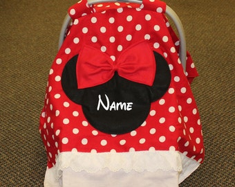 Minnie mouse Personalized infant CAR SEAT CANOPY! & Minnie mouse canopy | Etsy