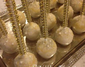 12 Gold and White BLING cake pops, bridal shower, wedding, birthday