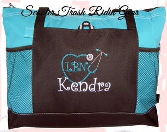 Personalized Nurse Stethoscope Tote Bag - RN LPN CNA - monogrammed - Free shipping