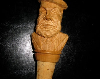 50% Off Carved Wood And Cork Man Bottle Stopper Alpine Rustic Bar Decor