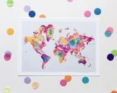 World Map / Signed print by Niki Pilkington