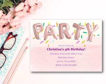 "Pink Balloons Invitation Set of 12 5""x7"""