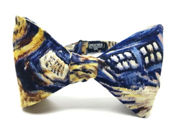 Exploding TARDIS Van Gogh Doctor Who Bow Tie - bowtie, bowties, bow ties, Whovian, geek, geeky chic, nerd, comic con, wedding, groom