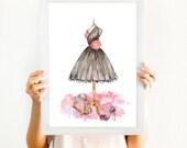 "Teen Room Printable Wall Art, Fashion Art Print, Instant Download Digital File Printable ""Black Dress"" Fashion Watercolor 8x10 Digital Print"