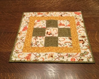 Quited Table Topper, quilted table mat, Table Topper,cranberry, gold, green, beige, brown, rust