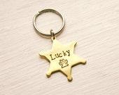 "1.13"" x 0.94"" Sheriff Badge Brass Dog ID Tag, Hand Stamped Cowboy Star Tag, Small Cat ID Tag, Handmade Pet ID Tag, Texas Southwest Dog Tag"