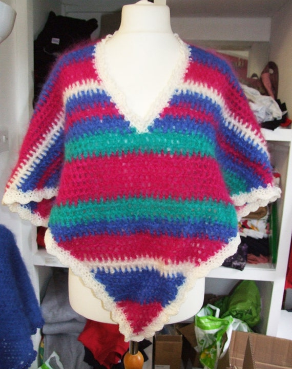 70s Retro Hand Crotcheted colourful striped mohair poncho multi size will fit up to size 22