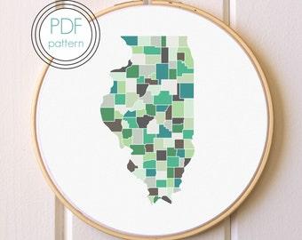 Illinois Embroidery Pattern PDF. Modern Hoop Art. Hand Embroidery Pattern.