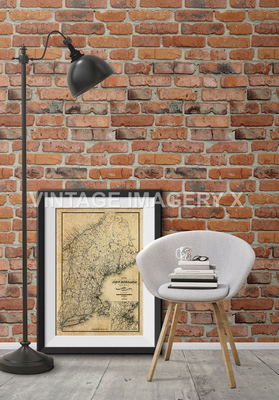 Old Map of New England 1885 vintage New England map Restoration Hardware Style Historic New England Wall Map Home Decor Fine Wall Art Print