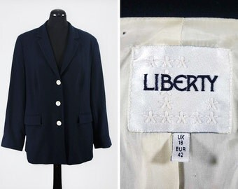 Vintage Single-Breasted Navy Wool Liberty Blazer