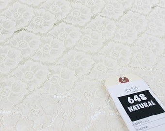 Natural Sabrina Floral Stretch Lace Fabric Wedding, Bridal, Decoration and DIY Fabric - 1 Yard Style 648