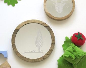 Round wooden mirror // Tree  // Cross stitch pattern // Decorative wall mirror // Nursery decor  // Acrylic mirror // woodland // babyshower