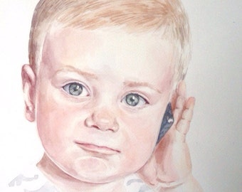 Custom children watercolor portrait commission painting from your photo
