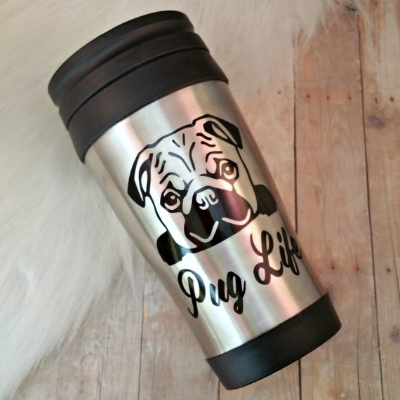 luckydogaccessories pug life travel mug gift for dog lovers