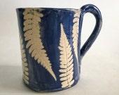 Fern Leaf Blue and White Pottery Mug, Ceramic Coffee or Tea Cup