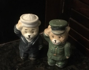 Vintage Sailor and Army Bear salt and pepper shakers