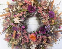 """Holiday Gift Wreath, """"Wildflowers"""" Dried Floral Wreath, Year Round Wreath, Door Wreath, Natural Wreath, Centerpiece, Candle Ring"""