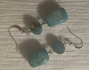 Light Blue and Brown Earrings No. 156