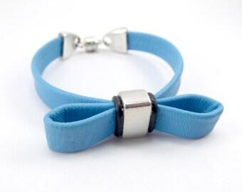 Leather Bow Bracelet - Leather Bracelet - Leather Bow Cuff - Cuff Bracelet - Leather Jewelry - Bow Cuff Bracelet - Blue Bow Bracelet
