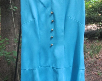 60s turquoise knit dress hand made