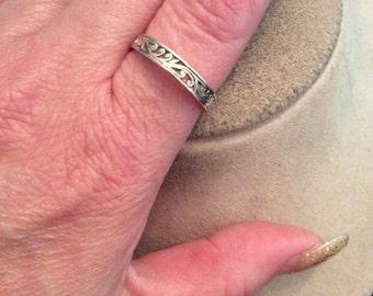 Vintage Sterling Silver Swirl Designed Ring Sz 10