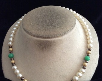 Vintage Glass Faux Pearl Green & Brown Glass Beaded Necklace