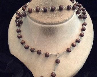 Vintage Religious Dark Brown Wooden Beaded Rosary